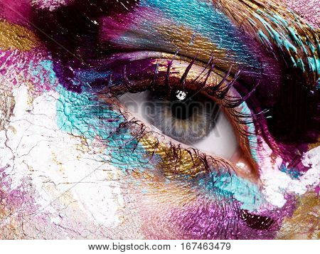 Beauty, Cosmetics And Makeup. Bright Creative Make-up