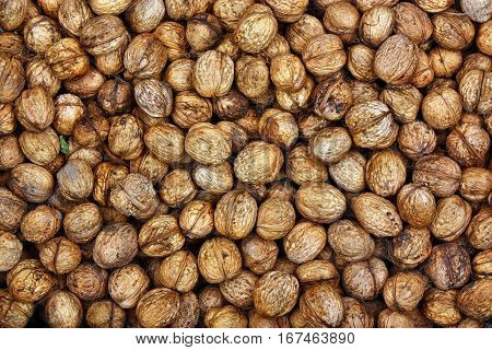 Fresh natural background walnuts brown healthy food