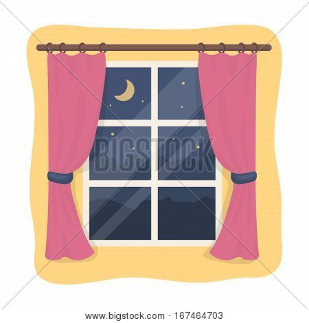 Night out the window icon in cartoon design isolated on white background. Sleep and rest symbol stock vector illustration.