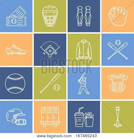 Baseball, softball sport game vector line icons. Ball, bat, field, helmet, player, catcher mask. Linear signs set, championship pictograms with editable stroke for event, equipment store