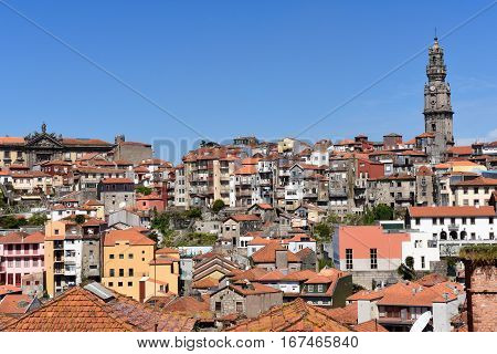Church Clerigos with panoramic view of Porto Portugal