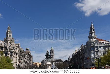 Porto center and Statue of King Peter IV Portugal