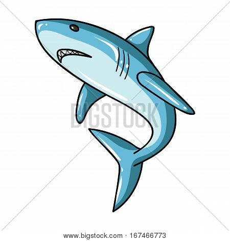 Great white shark icon in cartoon design isolated on white background. Surfing symbol stock vector illustration.