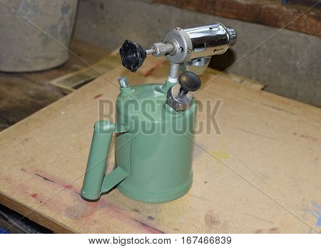 Blowtorch, General View. Blowtorch A With A Green Tank
