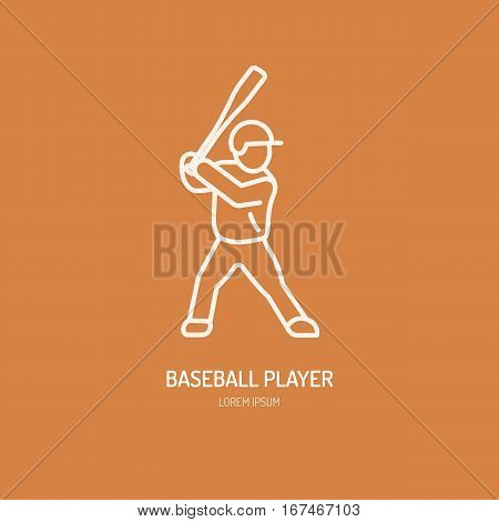 Baseball, softball player vector line icon. Bats and ball logo, equipment sign. Sport competition illustration.