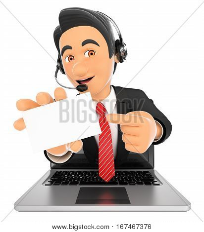 3d working people illustration. Call center employee coming out a laptop screen with a blank card. Isolated white background