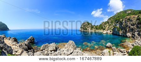 Landscape photo of Ermones beach on Corfu island
