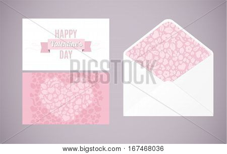 Happy Valentines Day. Vector love background with hearts and flowers postal card set and envelope. Creative design for party invitation greeting card