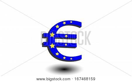 Blue euro with golden stars. Flag of Europe. Currency symbol with shadow on a white isolated background. Finance and business concept.