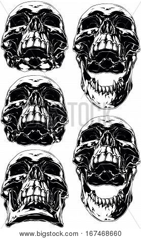 A vector illustration of Black scary graphic human skull with canine tooth tattoo set