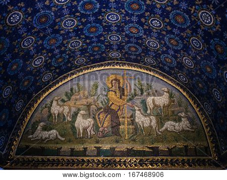 Mosaic In Ancient Galla Placidia Mausoleum