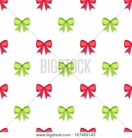 Red and green bows and ribbons seamless pattern. Bow set vector white background