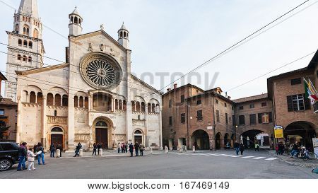 Corso Duomo And Cathedral In Modena City