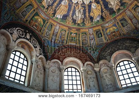 Interior Of The Neoniano Baptistry In Ravenna