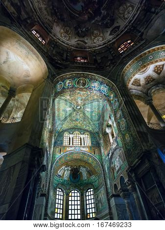 Interior Of Basilica San Vitale In Ravenna City