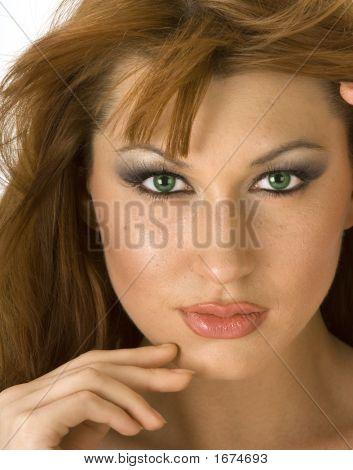 Beautiful Redheaded Woman Closeup Portrait 2