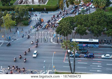 Car Traffic On Crossroad In Barcelona City