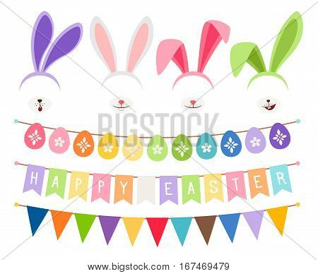 Easter party decoration vector elements. Eggs garland and bunny ears isolated on white background