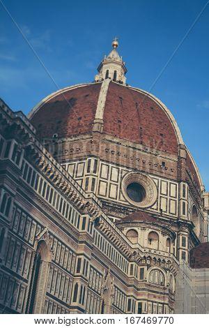 Vintage postcard with Piazza del Duomo and Cathedral Santa Maria del Fiore, Toscana, Italy