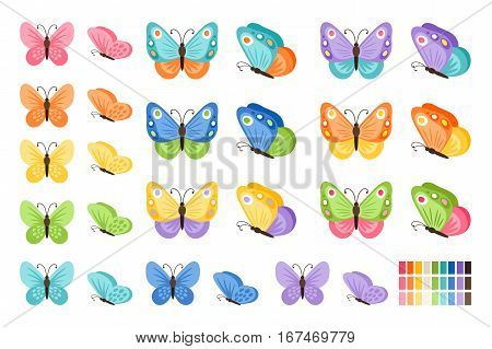 Watercolor colors butterflies isolated on white background. Pretty vector butterfly set with spring palette for child