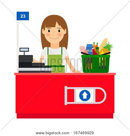 Cashier lady at her workplace. Grocery store shop assistant with cash register machine. Vector illustration