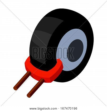 Wheel clamp icon in cartoon design isolated on white background. Parking zone symbol stock vector illustration.