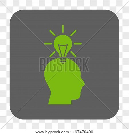 Genius Bulb interface toolbar button. Vector icon style is a flat symbol on a rounded square button light green and gray colors chess transparent background.