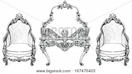 Rich Baroque Rococo armchair and dressing table set. French Luxury rich carved ornaments furniture. Vector Victorian exquisite Style decorated wooden structure