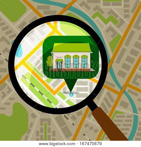 Supermarket location at city map. Store front over colored city map vector illustration