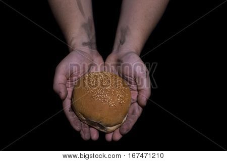 Giving Bread. Poverty Concept.
