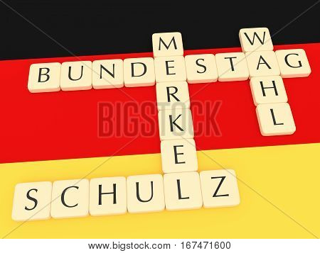 BERLIN GERMANY - JANUARY 30 2017: Germany Bundestag Election 2017: Letter Tiles Creating Words Bundestag (Parliament) Wahl (election) Merkel And Schulz with German flag 3d illustration