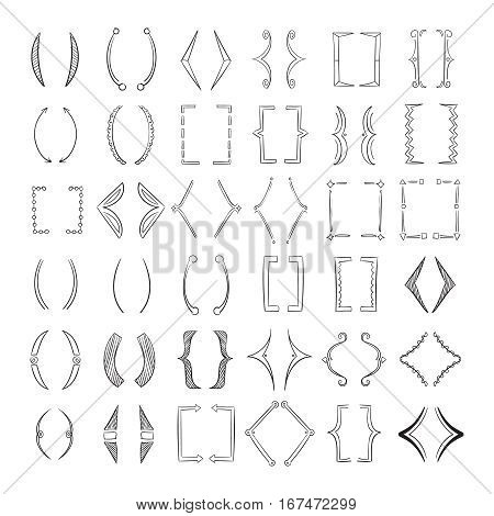 Hand drawn parenthesis, sketchy square brackets vector. Collection of bracket for text, illustration of elements line brackets for isolated