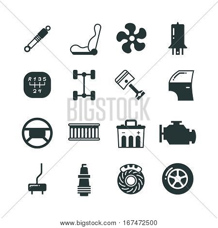 Car parts, mechanic vector icons set. Components and spare parts for car, illustration of parts for auto in black