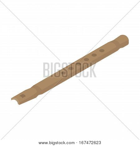 Wooden flute icon in cartoon design isolated on white background. Musical instruments symbol stock vector illustration.