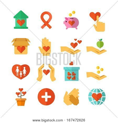 Charity, social help, money donate, nonprofit funding, generous hands vector. Set of icons hand giving and charity, ilustration of charity and donate