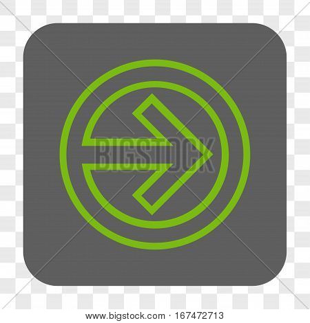 Import interface toolbar button. Vector icon style is a flat symbol inside a rounded square button light green and gray colors chess transparent background.