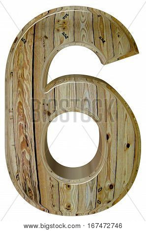 Numeral 6, Sixn, Isolated On White Background, 3D Render