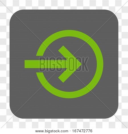 Import interface toolbar button. Vector icon style is a flat symbol on a rounded square button light green and gray colors chess transparent background.