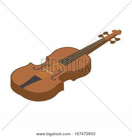 Violin icon in cartoon design isolated on white background. Musical instruments symbol stock vector illustration.