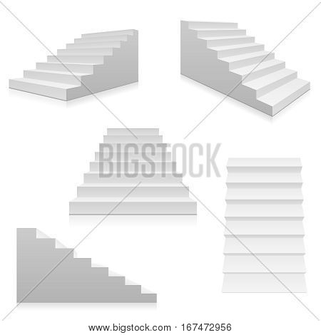 White stairs, 3d interior staircases isolated on white. Vector steps collection. Staircase for interior illustration isolated on white background