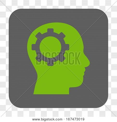 Intellect Gear interface toolbar button. Vector icon style is a flat symbol on a rounded square button light green and gray colors chess transparent background.