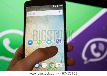 Moscow Russia - January 30 2017: Social network applications Viber and Whatsapp on Nexus smartphone display.