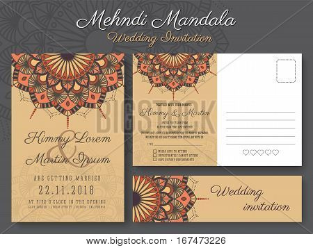 Classic vintage wedding invitation card design with beautiful Mandala flower suitable for both traditional and modern trend. Save the date and RSVP postcard template. Vector illustration