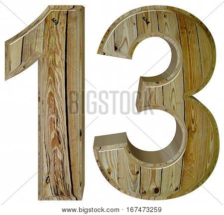 Numeral 13, Thirteen, Isolated On White Background, 3D Render