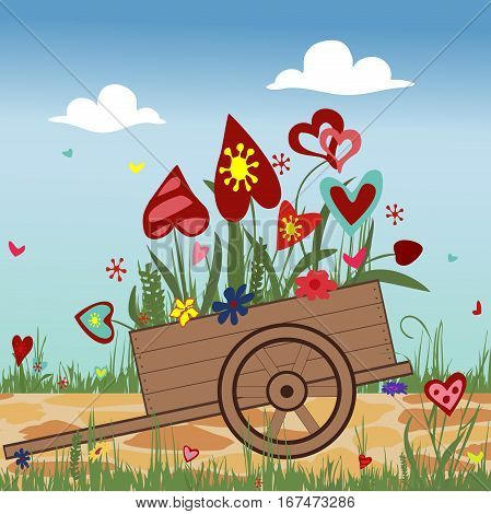 Flower arrangement of colorful hearts in a hand cart. Illustration symbolizing joy, love and happiness. Ideal for greeting cards with Valentine's day, happy birthday. Square location. Vector.