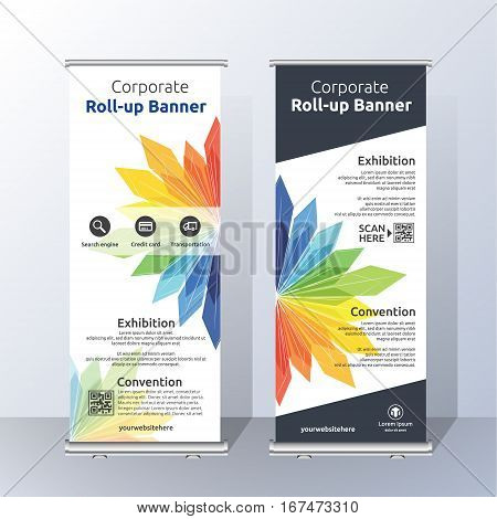 Vertical Roll Up Banner Template Design for Announce and Advertising. Abstract floral Color Layout Template. Vector illustration