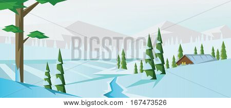 Digital vector abstract background with winter pines, snow and ice river and clouds, village house, mountains, flat triangle style