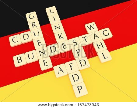 BERLIN GERMANY - JANUARY 30 2017: Germany Bundestag Election 2017: Letter Tiles Creating Words Bundestag (Parliament) Wahl (election) And The Names of German Parties with German flag 3d illustration