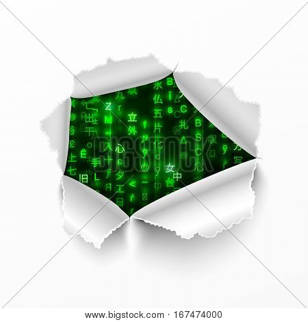 Torn hole in white sheet of paper with matrix code signs on background