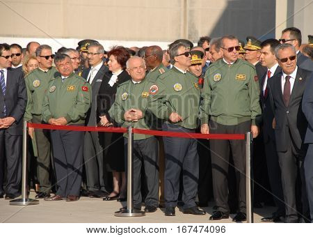 ANKARA, TURKEY - JUNE 10 2014 : Turkish Prime Minister Recep Tayyip Erdogan in flight jacket (1st right), Turkish President Abdullah Gul (2nd right) and VIP Persons on the apron of Turkish Land Forces Aviation Command